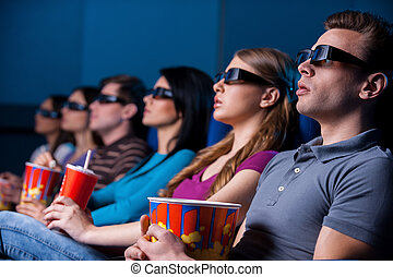 人々, ガラス, 監視, 3次元である, movie., 若い, モデル, 映画館, 映画, 楽しむ, 間