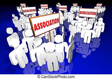 人々, クラブ, 会員, グループ, サイン, ミーティング, 連合, 3d