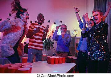 人々, グループ, パーティー, 幸せ