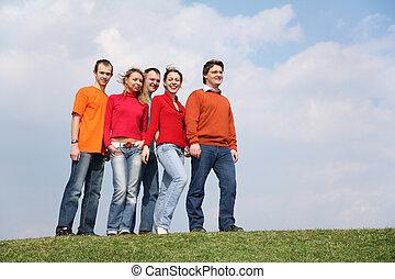 人々, グループ, 上に, 牧草地