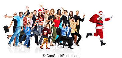 人々。, グループ, 動くこと, santa, 幸せ