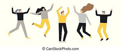 人々, グループ, 幸せ, 背景, 白, 跳躍