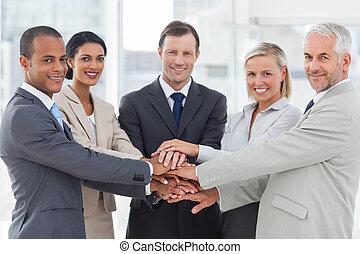 人々, グループ, 微笑, ビジネス