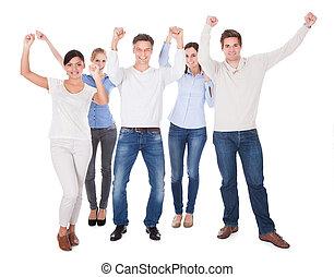 人々, グループ, 手の 上昇