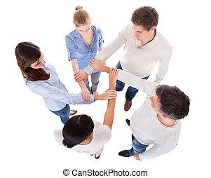 人々, グループ, 手を持つ