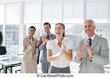 人々, グループ, 拍手喝采する, ビジネス