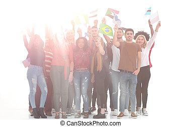 人々, グループ, 背景, イメージ, 旗, 国民, ∥(彼・それ)ら∥