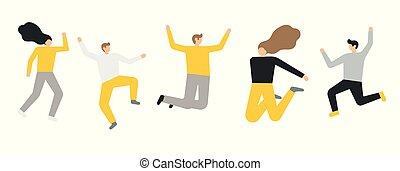 人々, グループ, 背景, 幸せ, 白, 跳躍