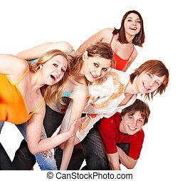 人々。, グループ, 若い, 幸せ