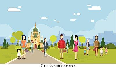 人々, グループ, 行きなさい, へ, 教会, チャペル, 建物, コピースペース