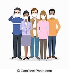 人々, グループ, 顔, アイコン, 身に着けているマスク