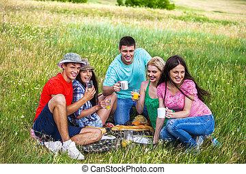 人々, グループ, picnic.