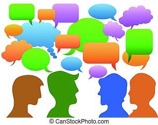 人々, コミュニケーション, 中に, スピーチ泡