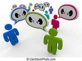人々, コミュニケーション, 議論, 2, イラスト, 話し, スピーチ, 顔, 泡, 3d