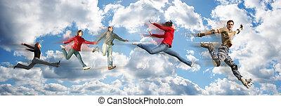 人々, コラージュ, パノラマ, 飛行, 空の雲