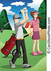 人々, ゴルフ, 遊び, 若い