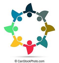 人々, シンボル, 人, logo., チームワーク, イラスト, 8, ベクトル, グループ
