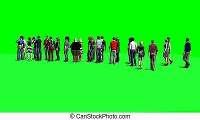 人々, スクリーン, -, 待つこと, 緑, 線
