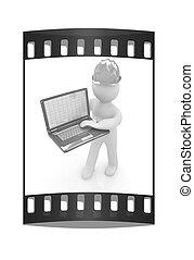 人々, ストリップ, フィルム, -, laptop., エンジニア, 3d, 小さい