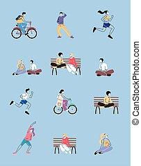 人々, セット, アイコン, スポーツ