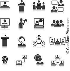 人々, セット, ミーティング, ビジネス アイコン