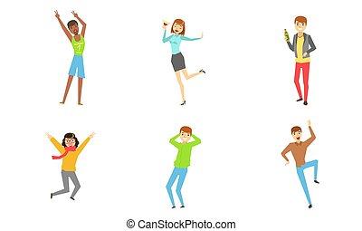 人々, セット, 幸せな女性たち, 楽しみ, イラスト, 若い, 飲むこと, アルコール, ベクトル, パーティー, 男性, 持つこと, 祝う, ダンス, 跳躍, 飲み物