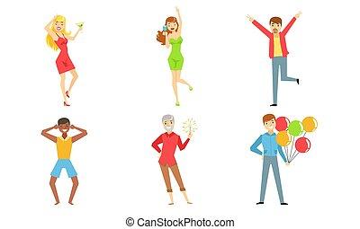 人々, セット, 幸せな女性たち, 若い, 飲むこと, アルコール, 楽しみ, イラスト, 男性, パーティー, ベクトル, 持つこと, 祝う, ダンス, 飲み物