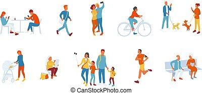人々, セット, 時間, 公園, 出費, 屋外で