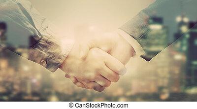 人々, ダブル, ビジネス, 背景, さらされること, 握手, 都市, 大きい