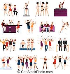 人々, ダンス, クラブ, セット, アイコン, 平ら