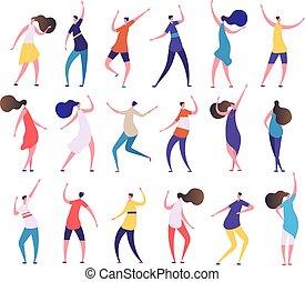 人々, ダンス, 人々。, 男性, club., クラブ通い, ベクトル, ダンス, 特徴, 流行, パーティー, 漫画, 女性