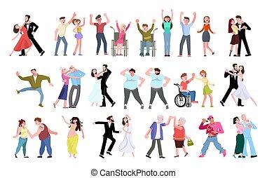 人々, ダンス, 朗らかである, 群集