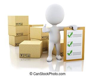 人々, チェックリスト, boxes., クリップボード, 白, ボール紙, 3d