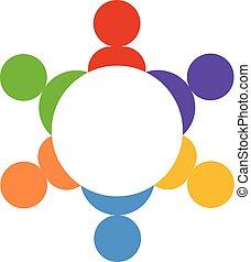 人々, チームワーク, ベクトル, グループ, ロゴ
