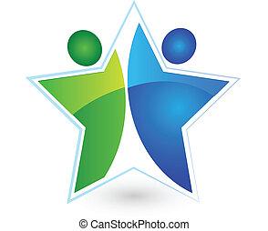 人々, チームワーク, ロゴ, ベクトル, 星