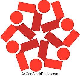 人々, チームワーク, ロゴ, ベクトル, 赤