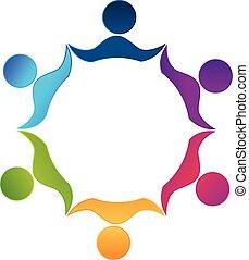 人々, チームワーク, ロゴ, 労働者, 統一
