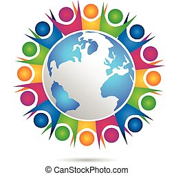 人々, チームワーク, 幸せ, ロゴ, ベクトル