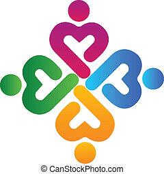 人々, チームワーク, 組合, ロゴ, 医学