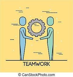 人々, チームワーク, 解決, ビジネス, 協力