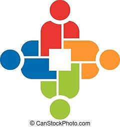 人々, チームワーク, 4, ロゴ, グループ
