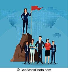 人々, チーム, の上, 始めなさい, 成功, ビジネス, 旗, 女性実業家, 山