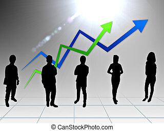 人々, チーム, グラフ, ビジネス