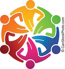 人々, チーム, 抱き合う, ベクトル, 6, ロゴ