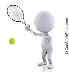 人々, テニス, 背中, 隔離された, ラケット, 白, ball., 3d