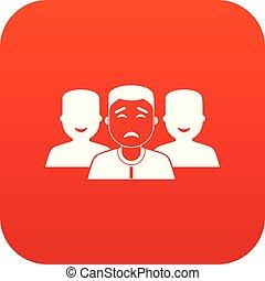 人々, デジタル, グループ, 赤, アイコン
