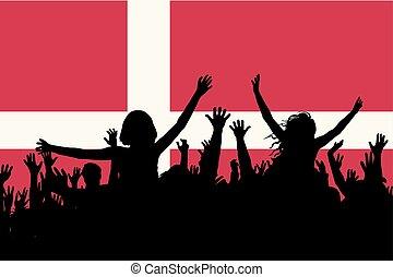 人々, デンマーク, 国民, 祝う, シルエット, 日