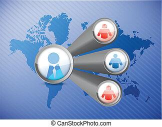 人々, ネットワーク, 世界地図, イラスト