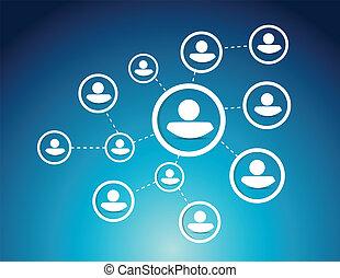 人々, ネットワーク, 図, イラスト, デザイン