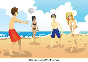 人々, バレーボールをする, 若い